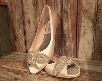 Bridal flat Peep Toe Pump Rhinestone Beaded Custom Bridal Flat Open Toe