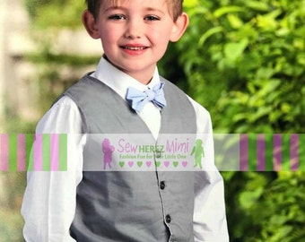 MERCURY GREY, ICE Blue Ring Bearer Vest Bow Tie Infant, Toddler, Child, thru 10 Youth