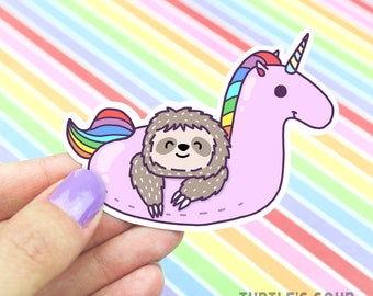 Sloth Sticker, Cute Unicorn Sticker, Rainbow Sticker,Skateboard Sticker, Decorative Stickers ,Pool Party Sticker, Kawaii Unicorn, Pool Float