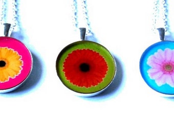 FLORAL necklace, flower jewelry, flower pendant, yellow flower, Gerbera Flower,gift for her, resin necklace, gerbera, summer