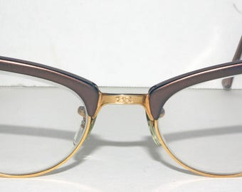 1950s Bronze Cat Eye Glasses Vintage Retro