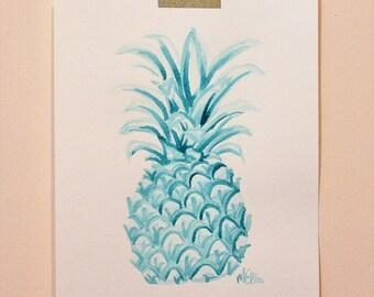 Original Teal Pineapple Watercolor Painting