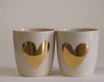 Goldenes Herz Espresso Set / einzigartiges Hochzeitsgeschenk / Engagement Geschenk