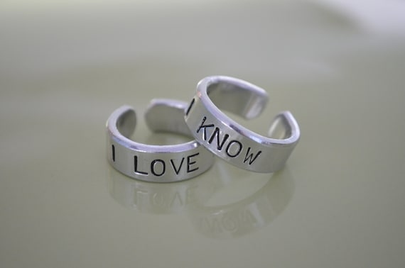 I love you I know ring set, Personalized, Star Wars, Leia, Couple Ring, Anniversary gifts for men, Wedding gifts, Boyfriend Girlfriend