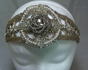 Art deco headband, 1920s wedding, 20s inspired, bridal forehead band, bridal headpiece, statement headpiece, wedding headband