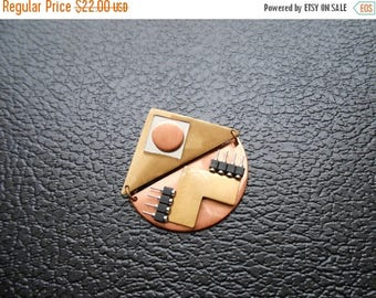 30% SALE - 90s vintage pin - mixed media metal gold copper brooch - 90s Ettie pin