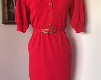 Red St. John's Button Sweater Dress w/ Matching Belt