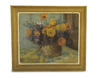Vintage French Flower Still Life Acrylic Painting. Original Art Floral Bouquet Painting in Frame. Framed Floral Still Life Painting.