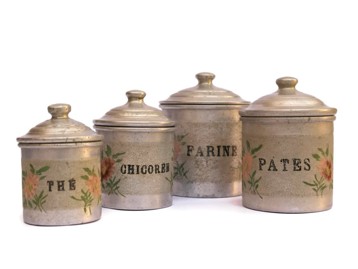 Shabby French Kitchen Canister Set. Vintage French Aluminum