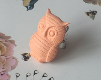 Handmade large owl ring