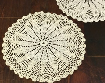 Crocheted Round Doily - Antique White Crocheted Star Pattern Doily