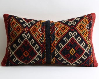 12x20 Moroccan lumbar ethnic kilim pillow cover // Multi colored handwoven tribal kilim natural dyes pillow