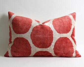 polka dot pillow, decorative pillow, pillow cover, ikat velvet pillow, throw pillow, cushion cover, decorative pillows, home decor, pillows