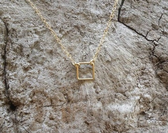Teenie Tiny Gold necklace, Tiny Square, layering necklace, gold fill, tiny necklace, tiny charm necklace, Dainty, Tiny Gold Necklace