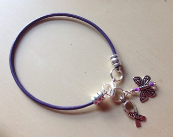 Purple, Lavender Violet leather Awareness Bracelet-Cystic Fibrosis-lupus-ADHD-Testicular Cancer-Survivor-Epilepsy-Alzheimers-Rett-Pancreatic