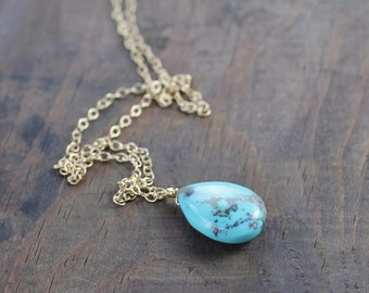 Turquoise Stone Necklace in Sterling Silver or Rose Gold Filled, Turquoise Teardrop Pendant, December Birthstone Necklace, Turquoise Jewelry