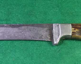 Vintage Handmade pewter stag antler / horn fixed blade hunting knife.