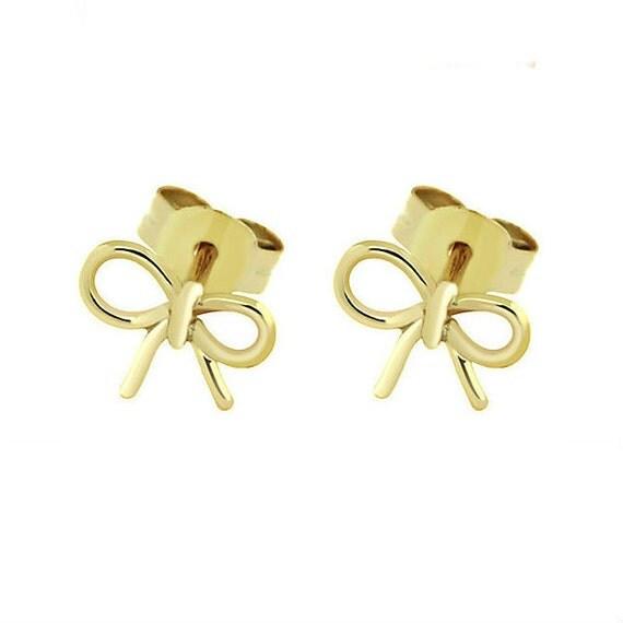 Bow earrings silver 925 gold plated, stud earrings, delicate bow earrings