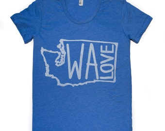WA LOVE-Women's Scoop neck American Apparel T shirt -Washington State love-This style runs Small