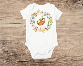 Sloth Bodysuit, Sloth Baby Clothes with Flowers