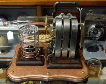 Beautiful Steampunk Apparatus: Antique 3 Bar Magneto Hand Crank Generator - Massive Magneto Powers a Lightbulb When You Crank The Handle!