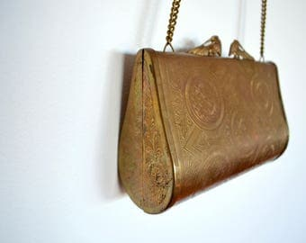 Vintage metal purse from the 1970's - brass with hippie boho engraving, chain strap, velvet lining