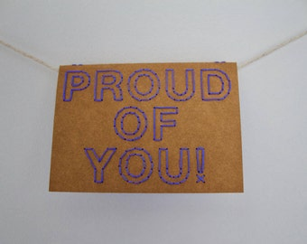 Proud of you! | Hand sewn A6 card