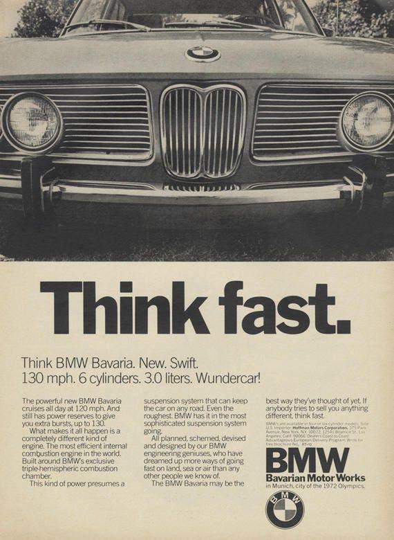 1971 bmw bavaria car ad think fast vintage for Garage bmw bayern marignane