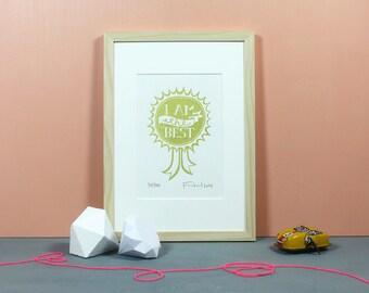 Congratulation to Me | Linoldruck, Linolschnitt, Grafik, Druckgrafik, Print, Druck, Medaille, Schleife, Orden, Bester, Knallbraun, gold, A5