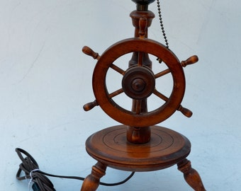 American Colonial Style Wood Vintage Nautical Ships Wheel Table Lamp