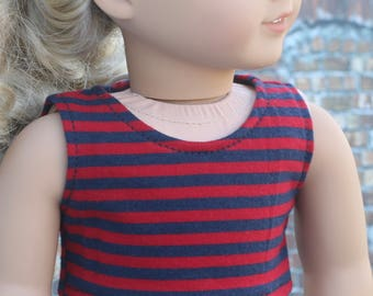 American Made   Red and Navy Stripe CROP TANK TOP 18 Inch Dolls