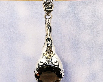 Reflections Smoky Topaz Pendant & .925 Sterling Silver Pendant AE956 The Silver Plaza