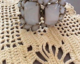Vintage 1950s 1960s Bracelet Clamper Cuff Signed Elizabeth Morrey White Opaque Stones