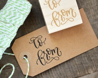 To and From Rubber Stamp, Gift Wrap for Christmas, Birthdays, Weddings