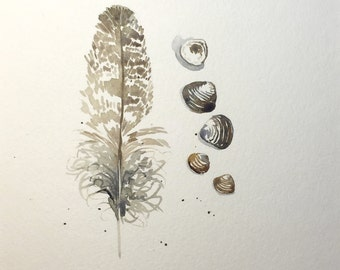 Original Watercolor Painting of Shells and Feather with Mat