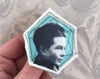 Simone de Beauvoir fabric brooch portrait feminist jewelry handmade by Tablewear