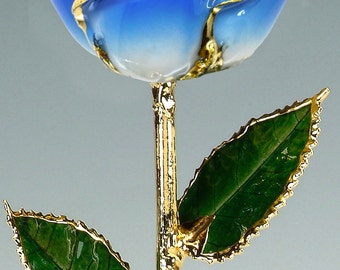 2-Tone Light Blue 24k Gold Rose by Living Gold - Real Rose Dipped in Gold