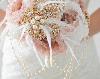 Custom Dusty Rose Fabric Bouquet,  Rose Gold Brooch Bouquet - Fabric Flower, Cascade Bouquet, Jeweled Bouquet - 9 inch Bridal Bouquet