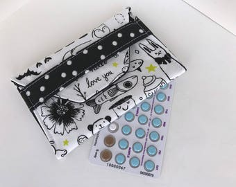 Pill Wallet - Birth Control Pill Wallet / ID Snap Wallet - Birth Control Case - White and black animal print