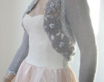 Grey Shrug Crochet Bolero, Knit Cowl Shrug, Lace Shrug, Mohair 3/4 Sleeve Sweater Shrug, Winter Bridal Shrug Bolero Jacket / S - M - L