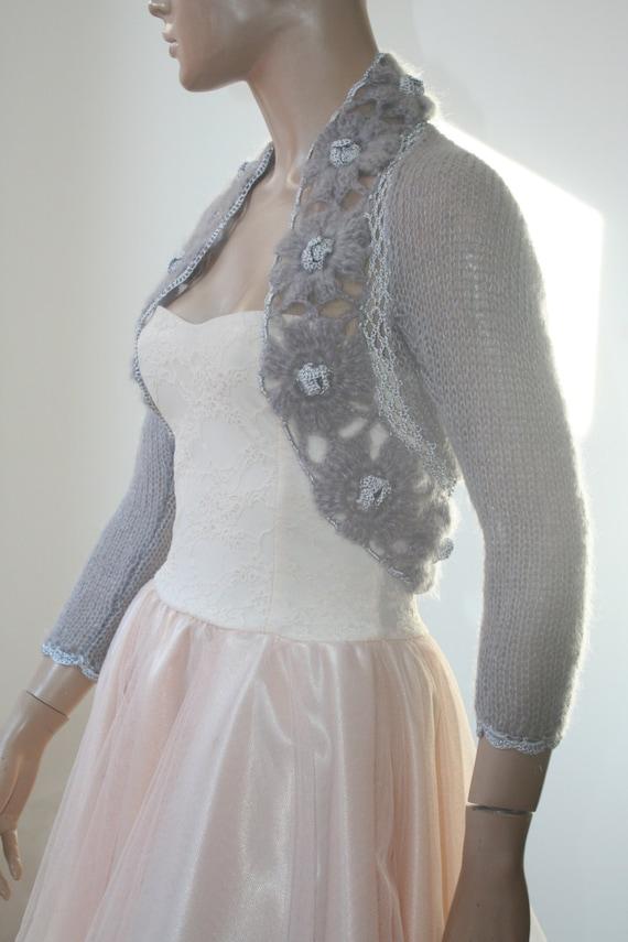 Knitting Pattern Cowl Shrug : Grey Shrug Crochet Bolero Knit Cowl Shrug Lace Shrug Mohair