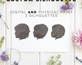 Child Silhouette - Custom Silhouette - Watercolor Silhouette - Custom Silhouette