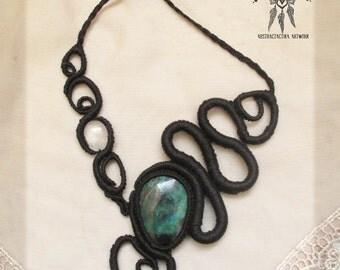 Spiral macrame necklace. Chrysocolla macrame. Asymetrical necklace. Statement necklace. Minimalist jewelry. Goddess jewelry. Bohemian.