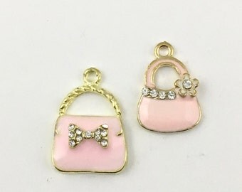 2 handbag  gold tone and enamel / 21mm to 25mm #Ch 525