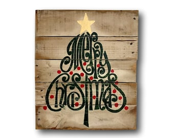 Rustic Wood Christmas Sign / Merry Christmas Decoration / Christmas Tree Decor