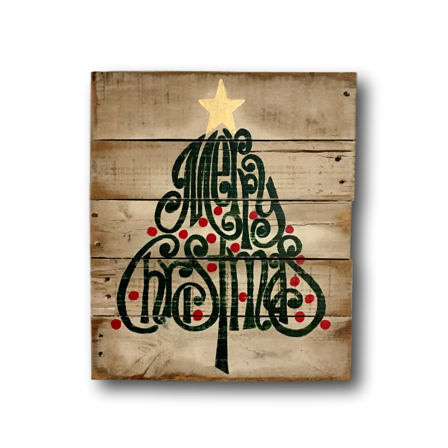 Christmas Sign Decorations: Rustic Wood Christmas Sign Merry Christmas Decoration