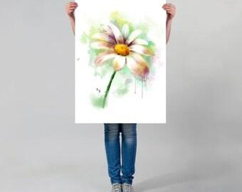 LARGE wall ART, Daisy WATERCOLOR Print, Watercolor Daisy Painting Art Print, White Flower art print, spring wall art decor,