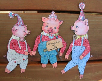 NEW - Huff, Puff and BlowYou Away - Articulated Paper Dolls, Mixed Media, pigs, Three Little Pigs