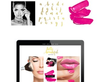 Logo Pink Gold Branding Kit Premade Photography Blogger Etsy Shop Logo Boho Feminine