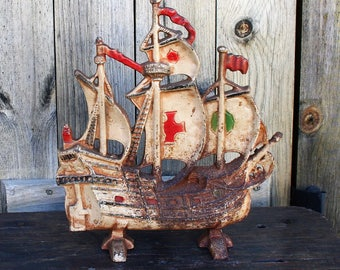 Vintage Cast Iron Schooner Doorstop, Pirate Doorstop